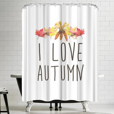 Jetty Printables I Love Autumn Typography Shower Curtain