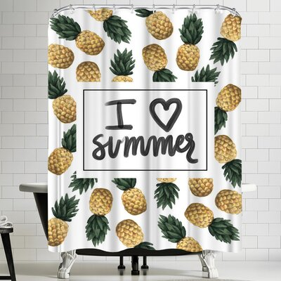 Jetty Printables I Love Summer Pineapple Art Shower Curtain