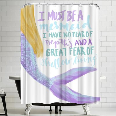 Jetty Printables I Must Be a Mermaid Typography Shower Curtain