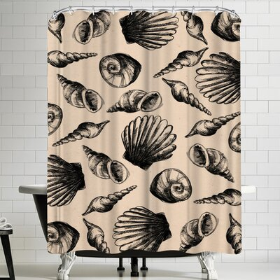 Jetty Printables Illustrated Sea Shell Shower Curtain