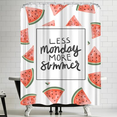 Jetty Printables Less Monday More Summer Watermelon Typography Shower Curtain