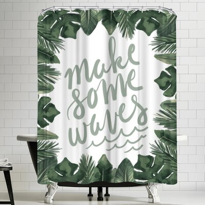 Jetty Printables Make Some Waves Typography Shower Curtain