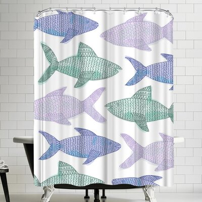 Jetty Printables Tribal Fish Pastel Shower Curtain