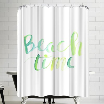 Jetty Printables Watercolor Beach Time Typography Shower Curtain