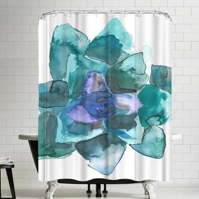 Jetty Printables Watercolor Blue and Green Succulent 2 Shower Curtain