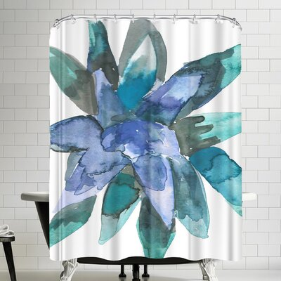 Jetty Printables Watercolor Blue and Green Succulent 3 Shower Curtain