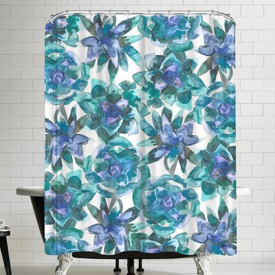 Jetty Printables Watercolor Blue and Green Succulent Shower Curtain