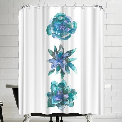 Jetty Printables Watercolor Blue and Green Succulent Trio Shower Curtain