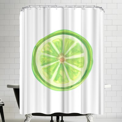 Jetty Printables Watercolor Lime Slice Shower Curtain