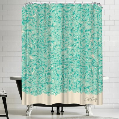 Cat Coquillette Abstract Turquoise Shower Curtain