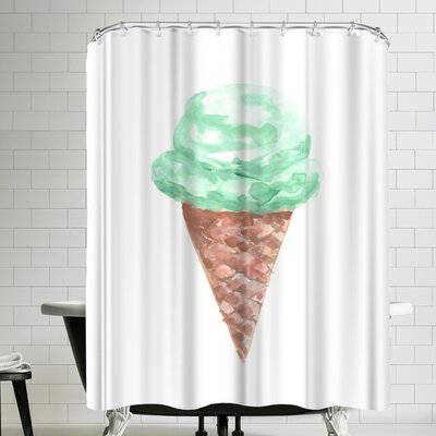 Jetty Printables Watercolor Mint Ice Cream Cone Shower Curtain