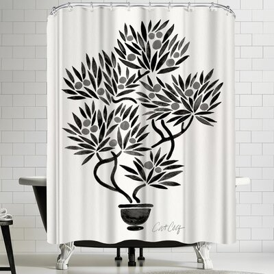 Black Bonsai Shower Curtain