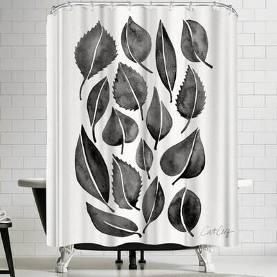 Black Fall Leaves Shower Curtain