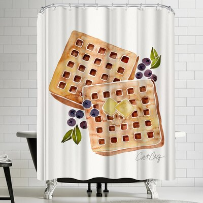 Blueberry Breakfast Waffles Shower Curtain