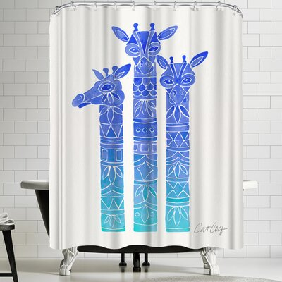 Blue Ombre Giraffes Shower Curtain