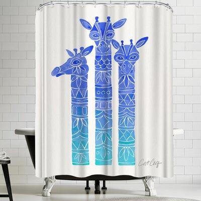 Cat Coquillette Blue Ombre Giraffes Shower Curtain