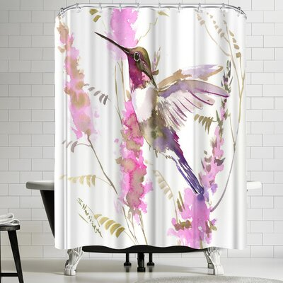 Suren Nersisyan Hummkingbird and Pink Flowers Shower Curtain