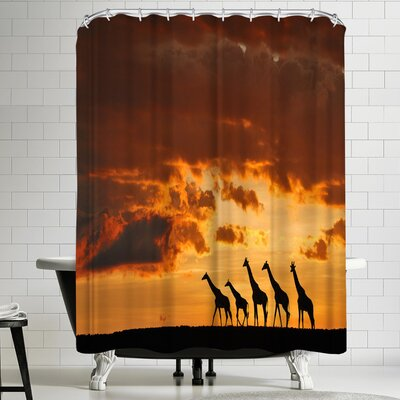 1x Five Giraffes Shower Curtain