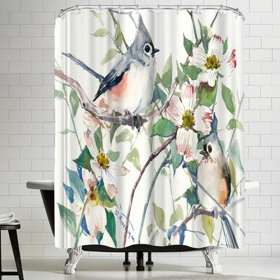 Suren Nersisyan Titmice and Dogwood Shower Curtain