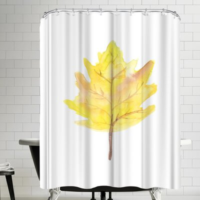 Jetty Printables Watercolor Yellow Leaf Shower Curtain