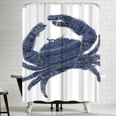 Jetty Printables Navy Blue Tribal Crab Shower Curtain
