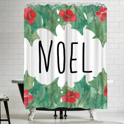 Jetty Printables Noel with Holly Shower Curtain