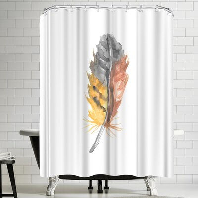 Jetty Printables Nursery Watercolor Feather Shower Curtain