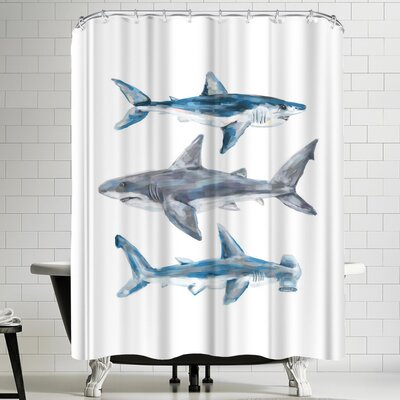 Jetty Printables Painted Shark Trio 1 Shower Curtain