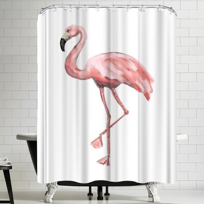 Jetty Printables Pink Flamingo Shower Curtain