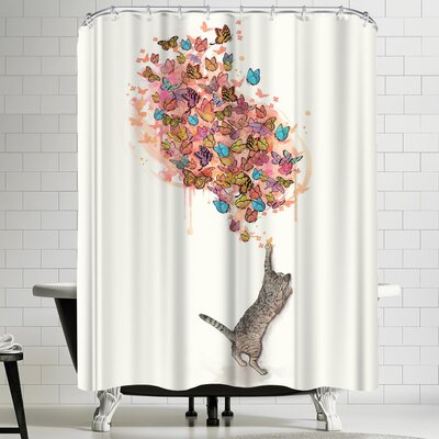 Laura Graves Catching Butterflies Shower Curtain