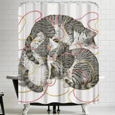 Laura Graves Cat Sin Rose Gold Shower Curtain