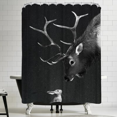 Laura Graves Elk&Rabbit Shower Curtain