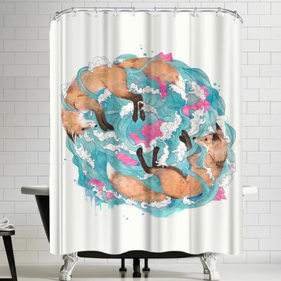 Laura Graves Falling Foxes Shower Curtain