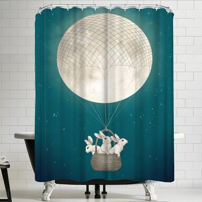 Laura Graves Moon Bunnies Shower Curtain