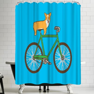 Joe Van Wetering Corgi on a Bike Shower Curtain