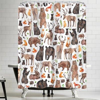 Elena Oneill Woodland Animals Shower Curtain