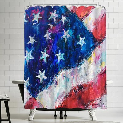 Richard Wallich American Flag Shower Curtain