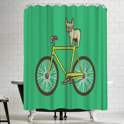 Joe Van Wetering Frenchie on a Fixie Shower Curtain
