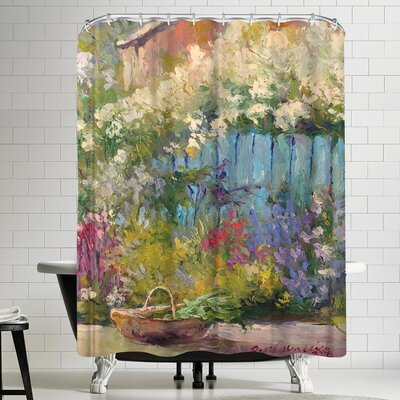 Richard Wallich Blue Fence Shower Curtain