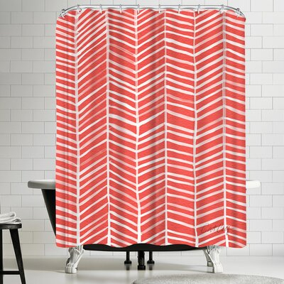Cat Coquillette Coral Herring Bone Shower Curtain