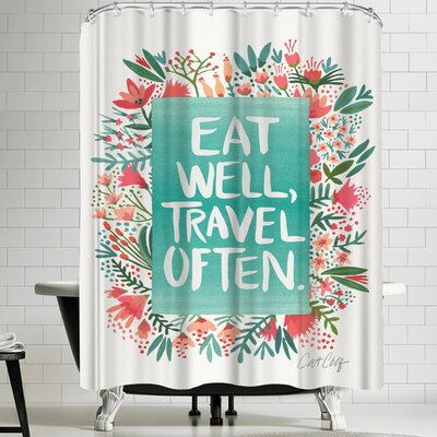Eat Well Travel Often Floral Shower Curtain