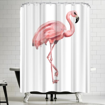 Jetty Printables Pink Painted Flamingo Shower Curtain