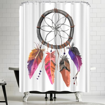 Jetty Printables Pink Watercolor Dream Catcher Shower Curtain