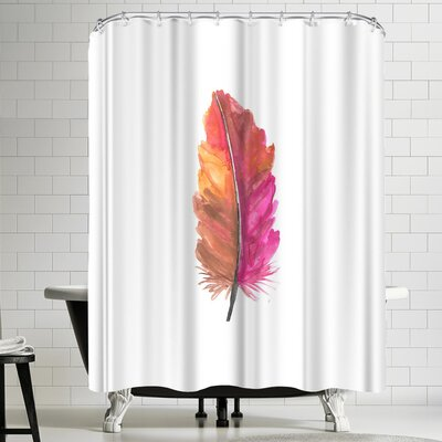 Jetty Printables Pink Watercolor Feather Shower Curtain