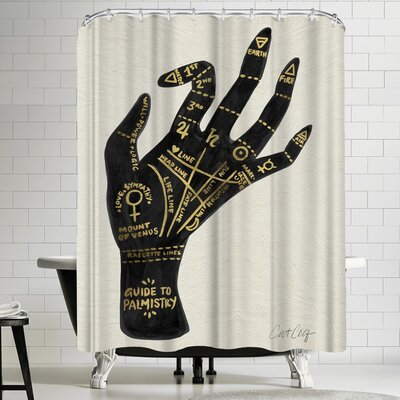 Cat Coquillette Palmistry Black and Gold Shower Curtain