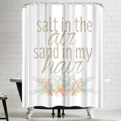 Jetty Printables Salt in the Air Sand in My Hair Typographic Art Shower Curtain