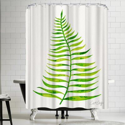 Cat Coquillette Palm Leaf Lime Shower Curtain