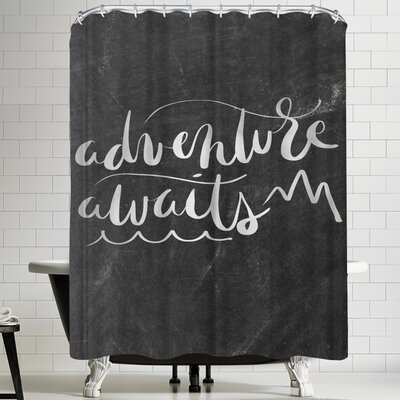 Jetty Printables Silver Chalkboard Adventure Awaits Typography Shower Curtain