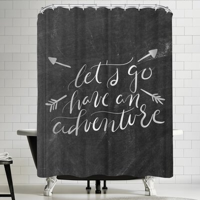 Jetty Printables Silver Chalkboard Adventure Typography Shower Curtain