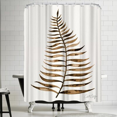 Cat Coquillette Palm Leaf Sepia Shower Curtain